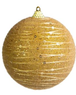 Bola de Natal Dourada fosca com Gliter, Lantejoula e fio em camadas