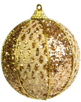 Bola de Natal Dourada com gliter, fio dourado e detalhes em renda – cx. com 03