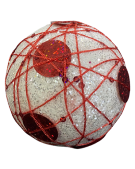 Bola de Natal Branca brilhante com fio vermelho e lantejoula
