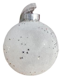 Bola de Natal Branca com pinheiro e estrelas de lantejoulas