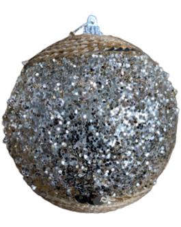 Bola de Natal Champagne com lantejoulas e brilho