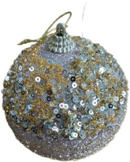 Bola de Natal Champagne e Dourado, com lantejoulas miçangas e fio decorativo