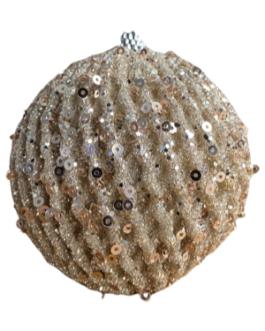 Bola de Natal Espiral Champagne com Gliter e Lantejoula
