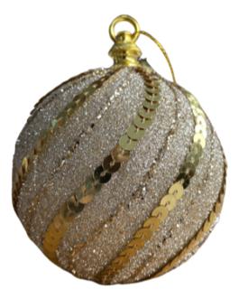 Bola de Natal Dourada com Gliter, Lantejoula e fio em ondas