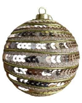 Bola de Natal Dourada com Gliter, Lantejoula e fio em camadas