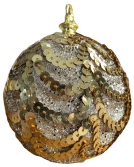 Bola de Natal Dourada com Gliter, Lantejoula em ondas
