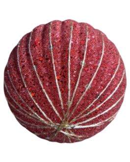 Bola de Natal Vermelha com Lantejoulas, gliter e fio dourado