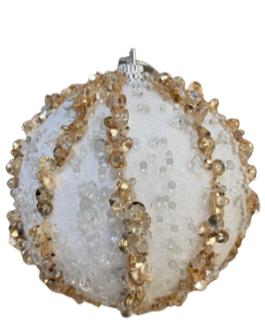 Bola de Natal Branca com fios de lantejoulas douradas e pedrinhas brancas