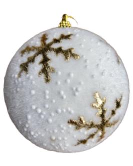 Bola de Natal Branca com textura aveludada e estampa de floco de neve em dourado