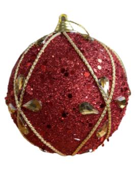 Bola de Natal Vermelha com gliter e pedras em formato de gotas e cordão dourado