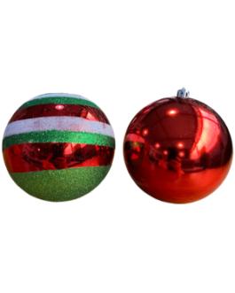 Bola de Natal Vermelha com listras em branco e verde
