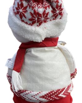 Boneco de Neve Sentado com casaco branco e vermelho