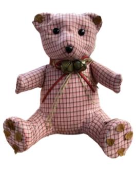 Urso Rosa Xadrez com guizo