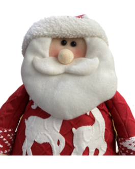 Papai Noel Sentado com casaco branco e vermelho, estampa de renas
