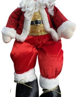 Papai Noel Sentado com casaco vermelho estampado e colete dourado