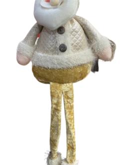 Papai Noel Sentado com casaco Champg e gorro com azevinho