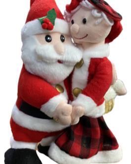 Boneco Papai Noel e Mamãe Noel musical com movimento de dança