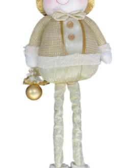 Boneco de neve em pé com casaco Champagne com dourado com as pernas retráteis