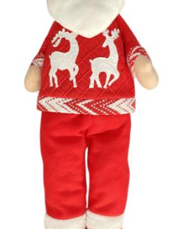 Papai Noel em Pé com casaco vermelho estampado com renas natalinas