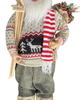 Papai Noel em Pé com casaco de tricô com esqui e saco com pinhas e azevinhosrenas natalinas (cópia)