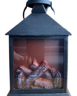 Lareira com imagem de lenha pegando fogo