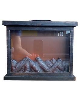 Lareira Retangular com imagem de lenha pegando fogo