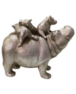 Escultura Hipopótamo com filhotes