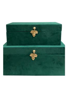 Caixa Audrey em Veludo Verde